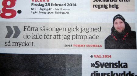 Första sidan på Gästriklands tidning.